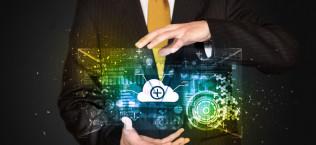 Businessman holding data cloud