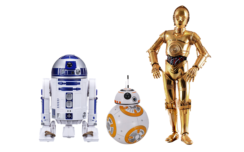 Examples of artificial intelligence from Star Wars including R2-D2, C3PO, and BB-8